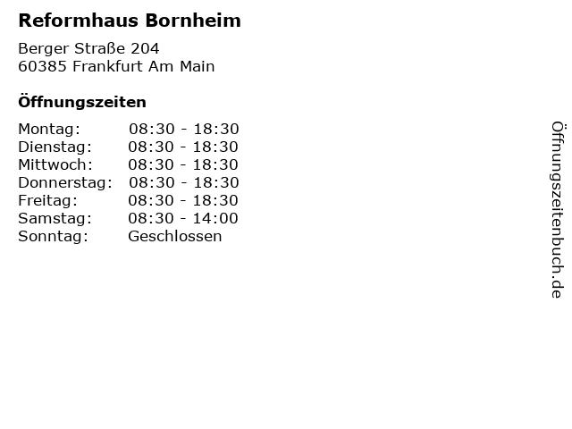 Reformhaus Bornheim in Frankfurt Am Main: Adresse und Öffnungszeiten