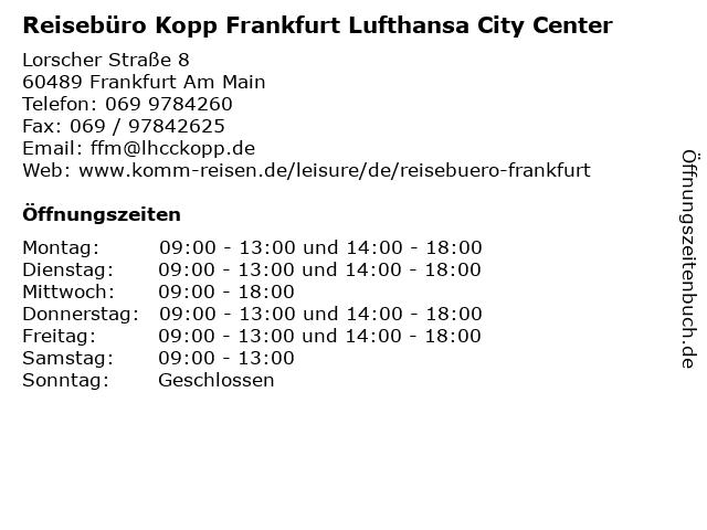 Reisebüro Kopp Frankfurt Lufthansa City Center in Frankfurt Am Main: Adresse und Öffnungszeiten