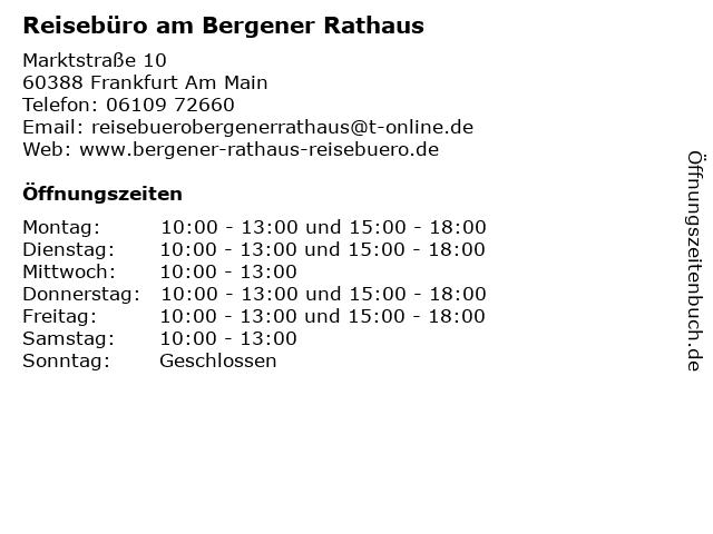 Reisebüro am Bergener Rathaus in Frankfurt Am Main: Adresse und Öffnungszeiten
