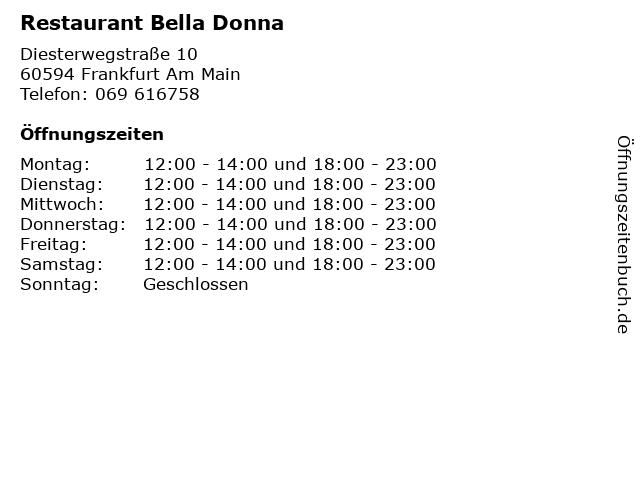 Restaurant Bella Donna in Frankfurt Am Main: Adresse und Öffnungszeiten