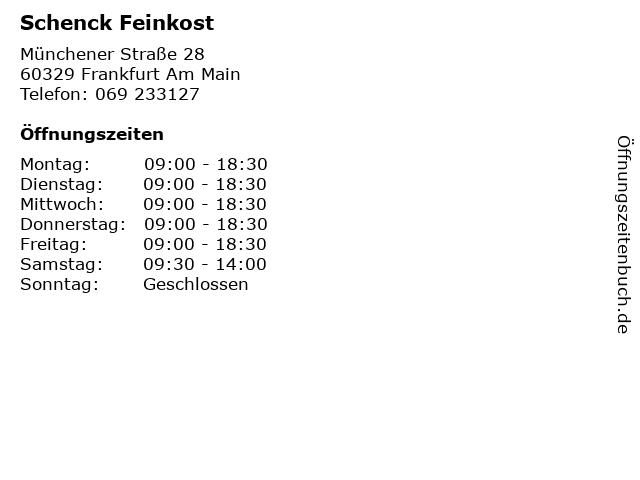 Schenck Feinkost in Frankfurt Am Main: Adresse und Öffnungszeiten