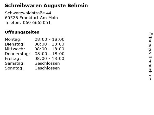 Schreibwaren Auguste Behrsin in Frankfurt Am Main: Adresse und Öffnungszeiten