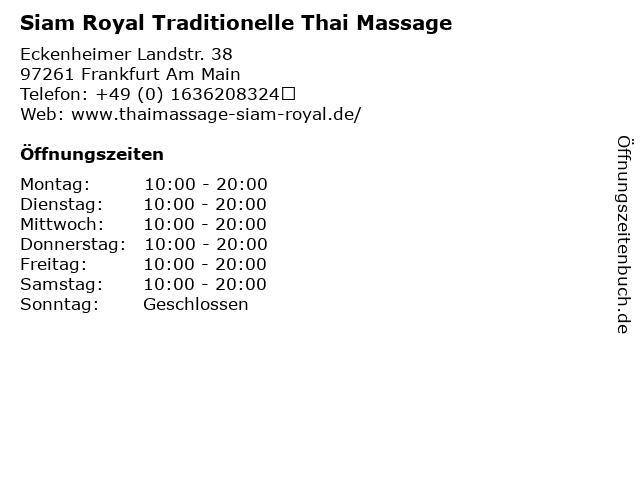 Siam Royal Traditionelle Thai Massage in Frankfurt Am Main: Adresse und Öffnungszeiten