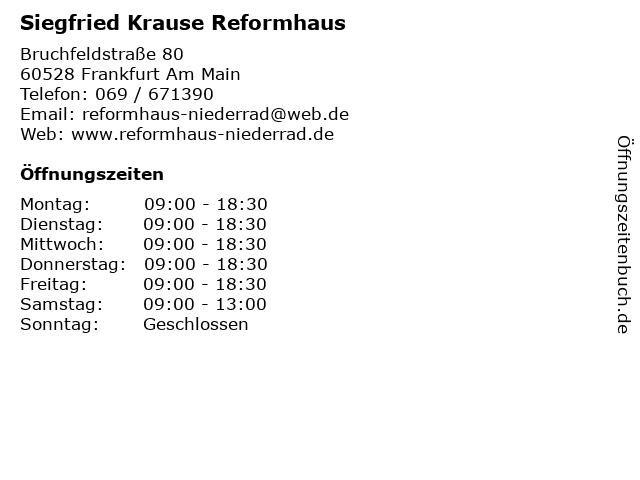 Siegfried Krause Reformhaus in Frankfurt Am Main: Adresse und Öffnungszeiten