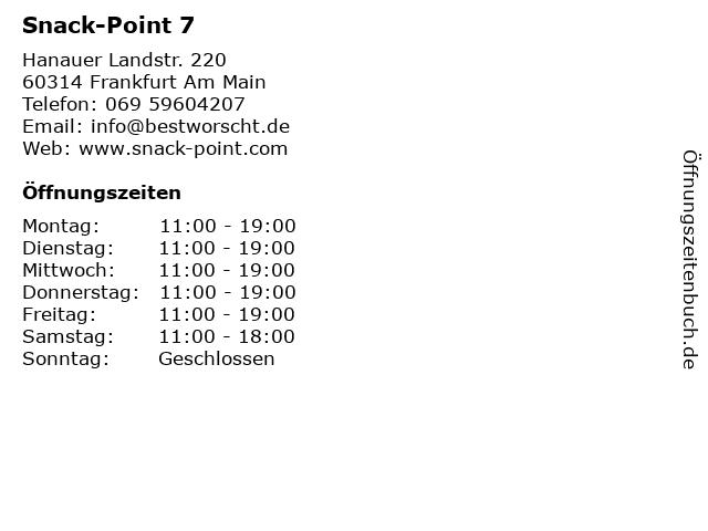 Snack-Point 7 in Frankfurt Am Main: Adresse und Öffnungszeiten