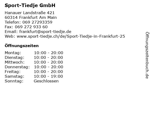 Sport-Tiedje GmbH in Frankfurt Am Main: Adresse und Öffnungszeiten
