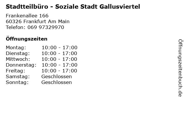 Stadtteilbüro - Soziale Stadt Gallusviertel in Frankfurt Am Main: Adresse und Öffnungszeiten