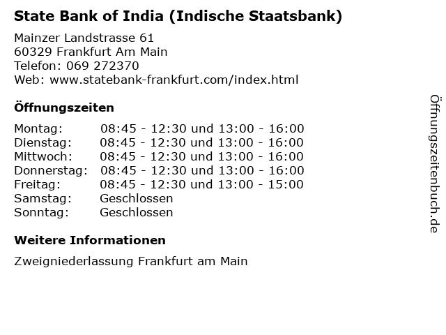 State Bank of India (Indische Staatsbank) in Frankfurt Am Main: Adresse und Öffnungszeiten