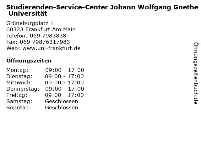 Studierenden-Service-Center Johann Wolfgang Goethe Universität in Frankfurt Am Main: Adresse und Öffnungszeiten