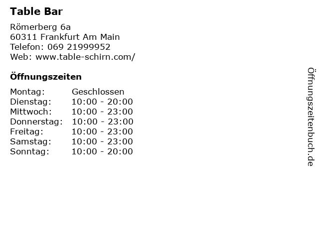 Table Bar in Frankfurt Am Main: Adresse und Öffnungszeiten
