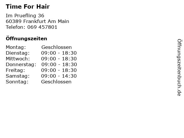 Time For Hair in Frankfurt Am Main: Adresse und Öffnungszeiten