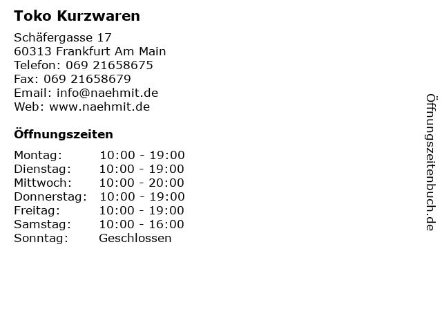 Toko Kurzwaren in Frankfurt Am Main: Adresse und Öffnungszeiten