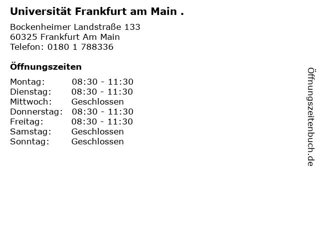 Universität Frankfurt am Main . in Frankfurt Am Main: Adresse und Öffnungszeiten