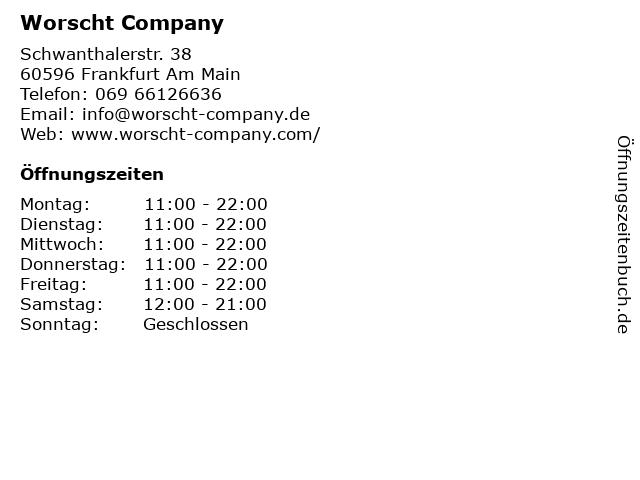 Worscht Company in Frankfurt Am Main: Adresse und Öffnungszeiten