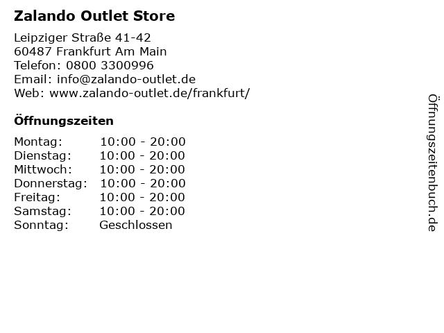 ᐅ öffnungszeiten Zalando Outlet Store Leipziger Straße 41 42 In
