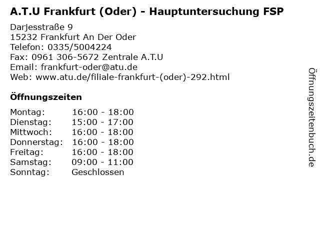 A.T.U Frankfurt (Oder) - Hauptuntersuchung FSP in Frankfurt An Der Oder: Adresse und Öffnungszeiten