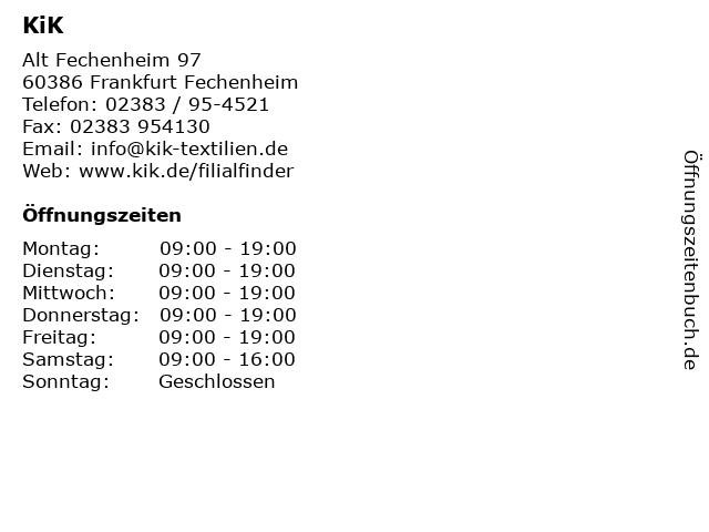 KiK Textilien & Non-Food GmbH in Frankfurt Fechenheim: Adresse und Öffnungszeiten