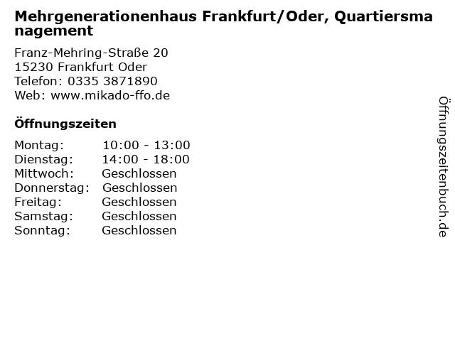 Mehrgenerationenhaus Frankfurt/Oder, Quartiersmanagement in Frankfurt Oder: Adresse und Öffnungszeiten