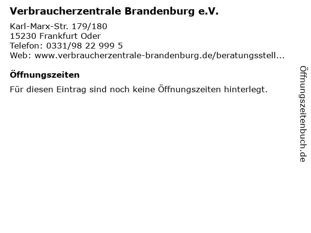 Verbraucherzentrale in Frankfurt Oder: Adresse und Öffnungszeiten