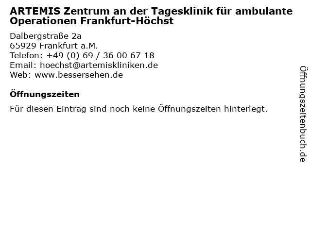 ARTEMIS Zentrum an der Tagesklinik für ambulante Operationen Frankfurt-Höchst in Frankfurt a.M.: Adresse und Öffnungszeiten