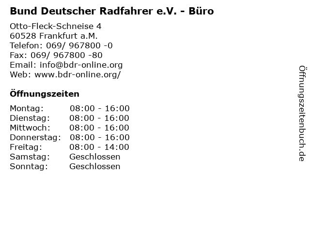 Bund Deutscher Radfahrer e.V. - Büro in Frankfurt a.M.: Adresse und Öffnungszeiten