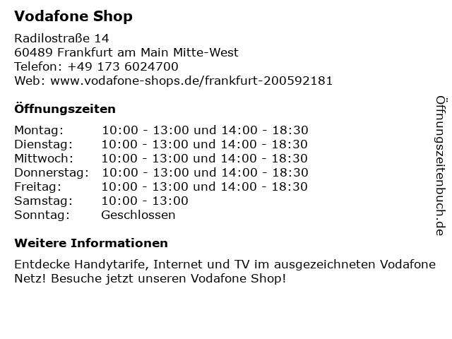 Vodafone Shop in Frankfurt am Main Mitte-West: Adresse und Öffnungszeiten