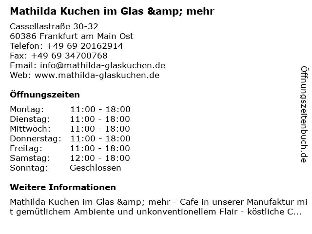 Mathilda Kuchen im Glas & mehr in Frankfurt am Main Ost: Adresse und Öffnungszeiten