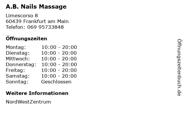 A.B. Nails Massage in Frankfurt am Main: Adresse und Öffnungszeiten