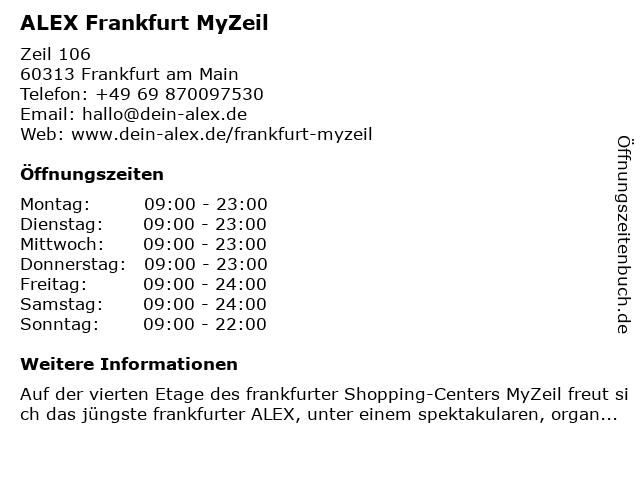 ALEX Frankfurt MyZeil in Frankfurt am Main: Adresse und Öffnungszeiten