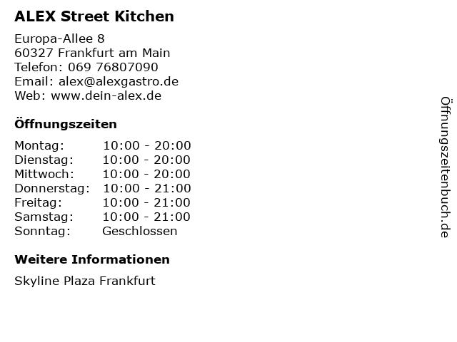ALEX Street Kitchen in Frankfurt am Main: Adresse und Öffnungszeiten