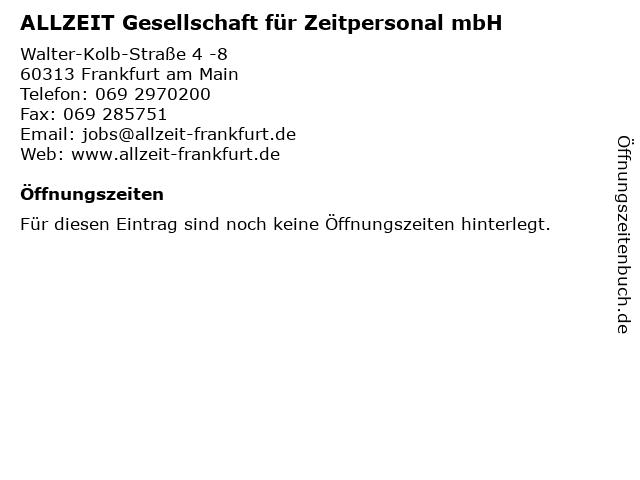 ALLZEIT Gesellschaft für Zeitpersonal mbH in Frankfurt am Main: Adresse und Öffnungszeiten