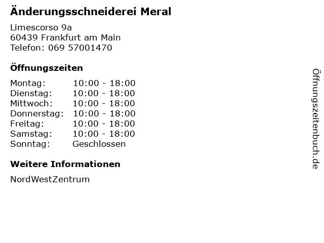 Änderungsschneiderei Meral in Frankfurt am Main: Adresse und Öffnungszeiten