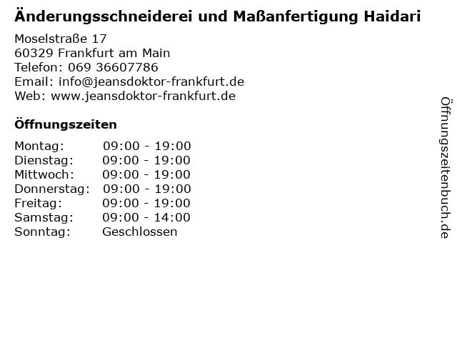Änderungsschneiderei und Maßanfertigung Haidari in Frankfurt am Main: Adresse und Öffnungszeiten