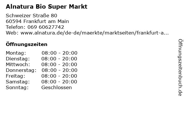 Alnatura in Frankfurt am Main: Adresse und Öffnungszeiten