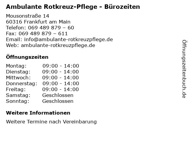 Ambulante Rotkreuz-Pflege - Bürozeiten in Frankfurt am Main: Adresse und Öffnungszeiten