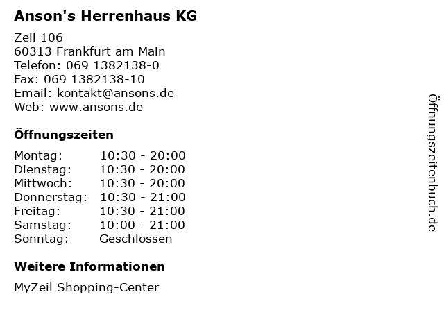 Anson's Herrenhaus KG in Frankfurt am Main: Adresse und Öffnungszeiten
