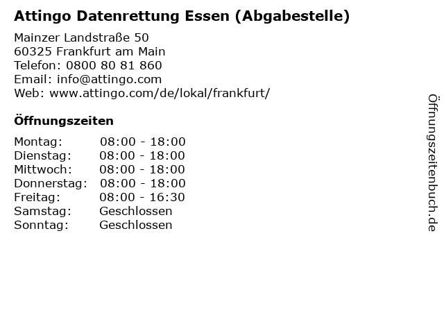 Attingo Datenrettung Essen (Abgabestelle) in Frankfurt am Main: Adresse und Öffnungszeiten