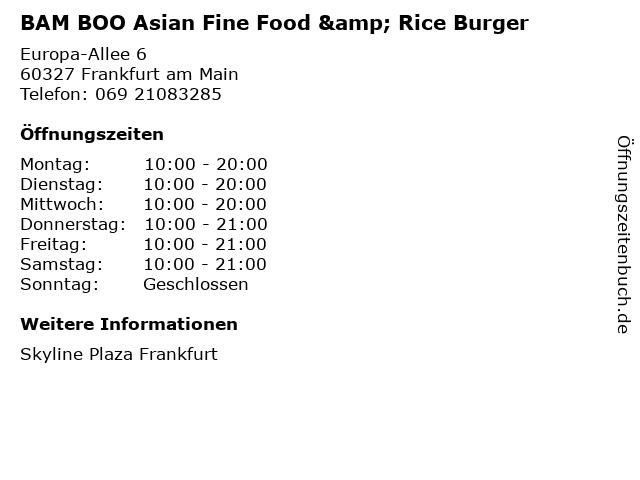BAM BOO Asian Fine Food & Rice Burger in Frankfurt am Main: Adresse und Öffnungszeiten