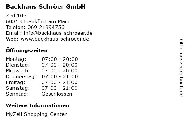 Backhaus Schröer GmbH in Frankfurt am Main: Adresse und Öffnungszeiten