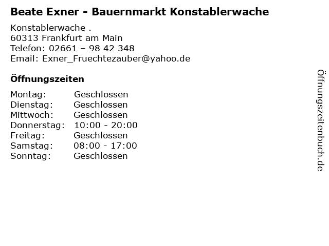 Beate Exner - Bauernmarkt Konstablerwache in Frankfurt am Main: Adresse und Öffnungszeiten