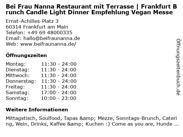 Bei Frau Nanna Restaurant mit Terrasse | Frankfurt Brunch Candle Light Dinner Empfehlung Vegan Messe in Frankfurt am Main: Adresse und Öffnungszeiten
