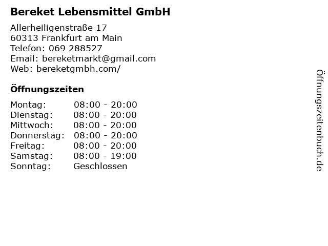 Bereket Lebensmittel GmbH in Frankfurt am Main: Adresse und Öffnungszeiten
