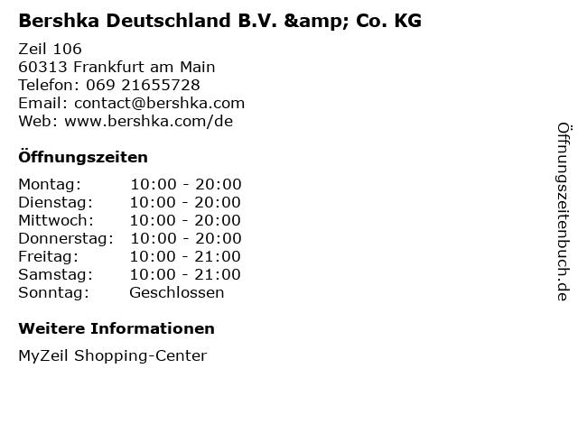 Bershka Deutschland B.V. & Co. KG in Frankfurt am Main: Adresse und Öffnungszeiten