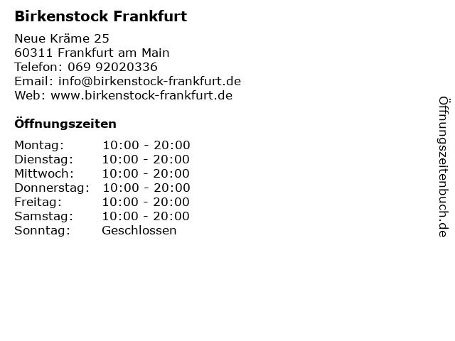Birkenstock Frankfurt in Frankfurt am Main: Adresse und Öffnungszeiten