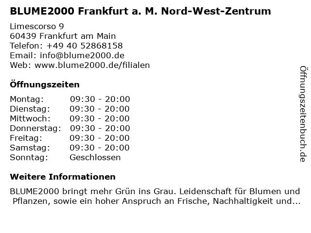 Blume 2000 in Frankfurt am Main: Adresse und Öffnungszeiten