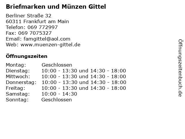 ᐅ öffnungszeiten Briefmarken Und Münzen Gittel Berliner Straße