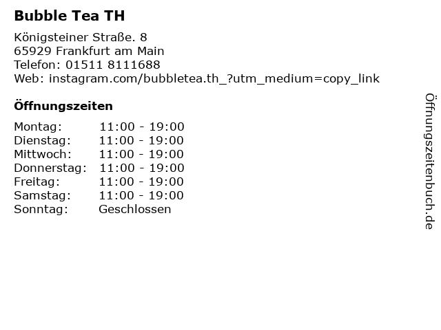 Bubble Tea TH in Frankfurt am Main: Adresse und Öffnungszeiten