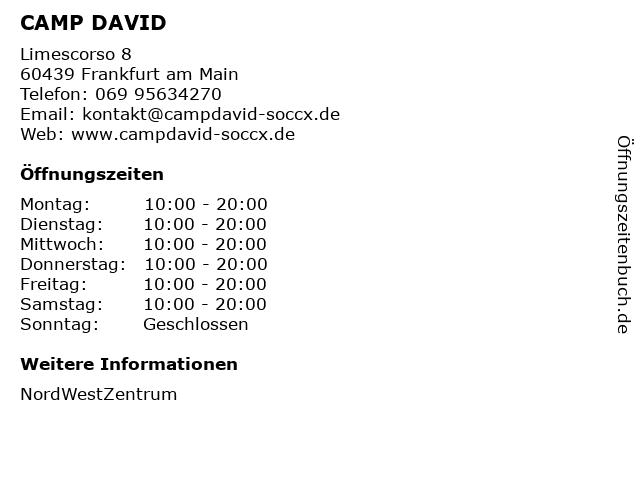 CAMP DAVID in Frankfurt am Main: Adresse und Öffnungszeiten