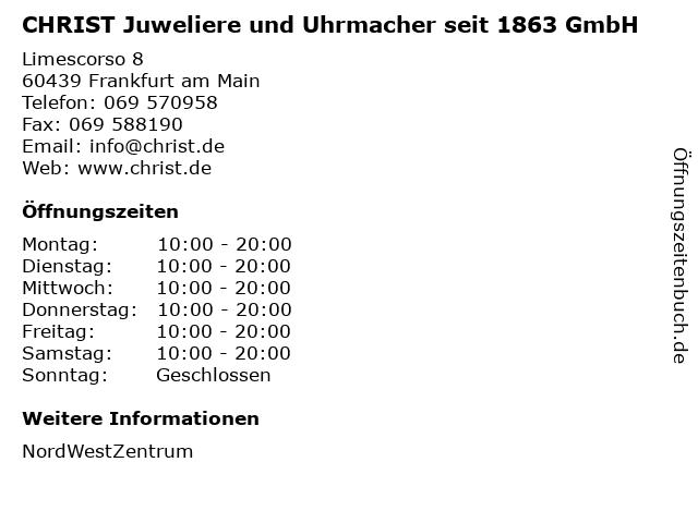 CHRIST Juweliere und Uhrmacher seit 1863 GmbH in Frankfurt am Main: Adresse und Öffnungszeiten