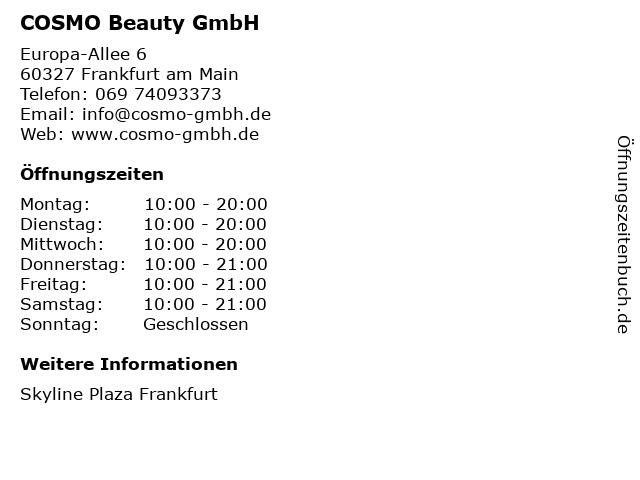 COSMO Beauty GmbH in Frankfurt am Main: Adresse und Öffnungszeiten